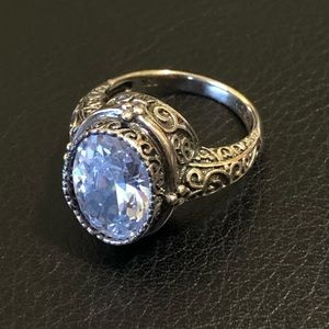 Silver JTV ring with white stone